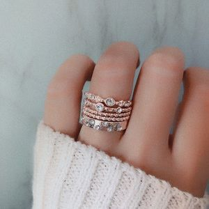 5Pcs/Set Crystal Rose Gold rings